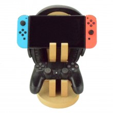 18mm Freestanding MDF Gaming Headset, Nintendo Switch & Playstation or X Box Controller Double Holder Stand
