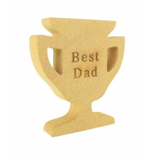 Mini Laser Engraved 'Best Dad' 18mm Freestanding MDF Trophy Shape