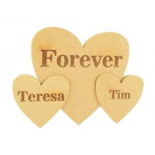 Personalised Laser Engraved 'Forever' 18mm Freestanding MDF Triple Interlinking Hearts