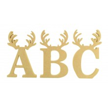 18mm Freestanding Wooden Christmas Themed Letters - BT NEWS - Reindeer Antlers - 200mm Height