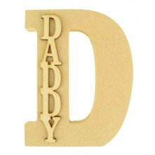18mm Freestanding 200mm Height Wooden Letter with 3D Laser Cut Name