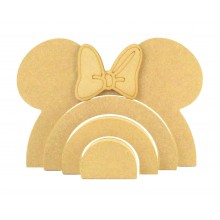 18mm Freestanding MDF Stacking Rainbow Shape - Mouse with 3D Bow