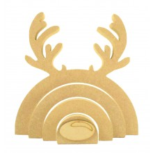 18mm Freestanding MDF Stacking Rainbow Shape - Reindeer with 3D Nose