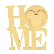 18mm Freestanding MDF Large 'HOME' Stacked Joined Word with a 3D Linking Mouse Head Shape