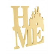 18mm Freestanding MDF Large 'HOME' Stacked Joined Word with a Princess Castle Shape