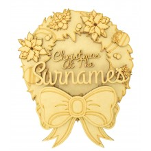 Laser Cut Personalised 'Christmas at the...' 3D Detailed Layered Christmas Circle Plaque - Christmas Wreath Themed