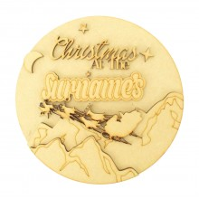 Laser Cut Personalised  'Christmas at the...' 3D Detailed Layered Christmas Circle Plaque - Flying Sleigh & Mountains Scene