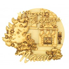Laser Cut Personalised 'Merry Christmas' 3D Detailed Layered Christmas Circle Plaque - Christmas Tree & Fireplace Scene