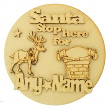 Laser Cut Personalised 'Santa Stop Here For...' 3D Basic Christmas Circle Plaque - Reindeer & Santa Roof Top Scene
