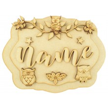 Laser Cut Personalised 3D Layered Rectangle Plaque - Owl Themed