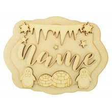 Laser Cut Personalised 3D Layered Rectangle Plaque - Boy Penguin Themed