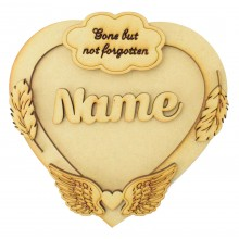 Laser Cut Personalised 3D Heart Shape Sign - Heaven Themed