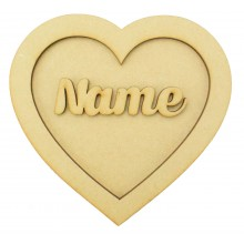 Laser Cut Personalised 3D Heart Shape Sign - Plain - No Shapes