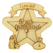 Laser Cut Personalised 3D Star Shape Sign - Golf Themed