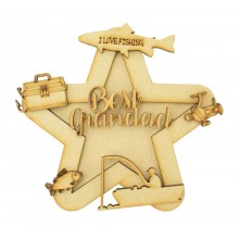 Laser Cut Personalised 3D Star Shape Sign - Fishing Themed
