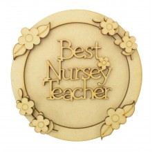 Laser Cut Personalised 3D Circle Shape Sign - Best Teacher - Flower Theme