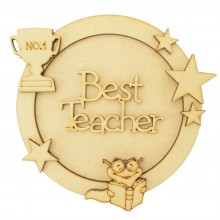 Laser Cut Personalised 3D Circle Shape Sign - Best Teacher - Star Theme