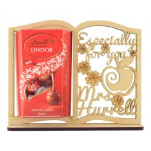6mm Personalised 'Especially for you'  Teachers Book Lindt Lindor Chocolate Box Holder on a Stand