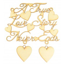 Laser Cur 'A True Love Story Never Ends' Quote Sign with 2 Hanging Hearts