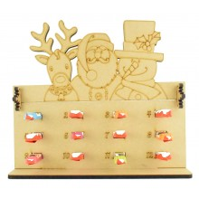 6mm Kinder Chocolate Bars Holder 12 Days of Christmas Advent Calendar with Rudolph, Santa & Snowman Topper