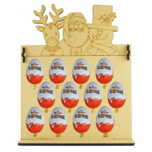 6mm Kinder Eggs Holder 12 Days of Christmas Advent Calendar with Rudolph, Santa & Snowman Topper