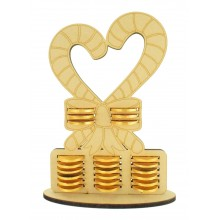 6mm Candy Cane Heart Chocolate Coin Holder Advent Calendar