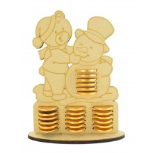 6mm Teddy & Snowman Chocolate Coin Holder Advent Calendar
