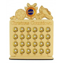 6mm Football Shapes Plaque Chocolate Orange and Ferrero Rocher Holder Advent Calendar
