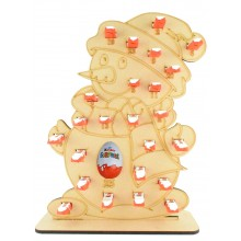 6mm Kinder Chocolate Bars & Kinder Egg Holder Advent Calendar - Snowman