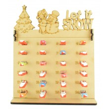 6mm Kinder Chocolate Bars Holder Advent Calendar with 'Let it snow' Teddy & Snowman