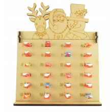 6mm Kinder Chocolate Bars Holder Advent Calendar with Rudolph, Santa & Snowman Topper