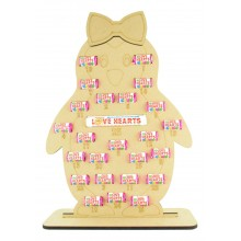 6mm Swizzels Mini Love Hearts Sweets Holder Advent Calendar - Girl Penguin