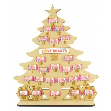 6mm Swizzels Mini Love Hearts Sweets Holder Advent Calendar - Christmas Tree