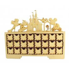 Laser Cut Christmas Rectangle 24 Drawer Advent Calendar Drawers with Magic Castle Shapes