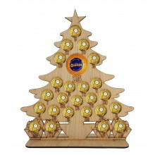 4mm Oak Veneer Christmas Tree Chocolate Orange and Ferrero Rocher Holder Advent Calendar