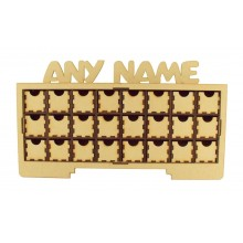 Laser Cut Personalised Christmas Rectangle 24 Drawer Advent Calendar Drawers with Name