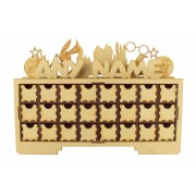 Laser Cut Personalised Christmas Rectangle 24 Drawer Advent Calendar Drawers with Wizard Shapes
