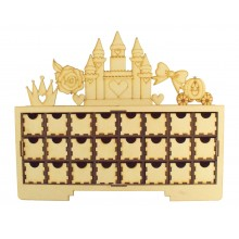 Laser Cut Christmas Rectangle 24 Drawer Advent Calendar Drawers with Princess Shapes