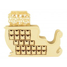 Laser Cut 3D Santa Sleigh Christmas Advent Calendar with Personalised 'Christmas Countdown' on Top - Options