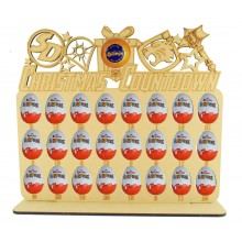 6mm Hand Drawn Superhero Logo Shapes Plaque Chocolate Orange & Kinder Egg Holder Advent Calendar on a Stand