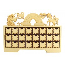 Laser Cut Christmas Rectangle 24 Drawer Advent Calendar Drawers with Unicorn Shapes