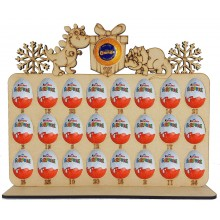 6mm Dinosaur Shapes Plaque Chocolate Orange & Kinder Egg Holder Advent Calendar on a Stand