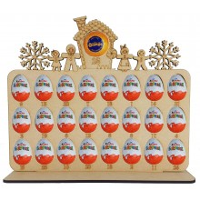 6mm Gingerbread Family Plaque Chocolate Orange & Kinder Egg Holder Advent Calendar on a Stand