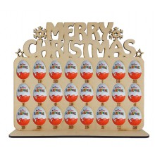 6mm Merry Christmas with Snowflakes Plaque Kinder Egg Holder Advent Calendar on a Stand
