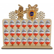 6mm Santa & Present Plaque Chocolate Orange & Kinder Egg Holder Advent Calendar on a Stand