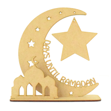 Laser Cut 'Days Until Ramadan' Countdown Moon on a Stand with Hanging Star