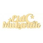 Laser Cut 'Eid Mubarak' Sign with Moon and Stars