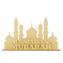 Laser Cut 3mm 'Ramadan Mubarak' Temple Sign on stand