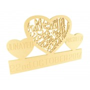 18mm Personalised Islamic 'Kalima' Heart Design with Date & Engraved Names in Hearts