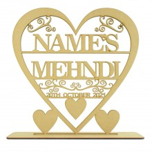 Laser Cut 3mm  Large Personalised Heart with swirl detail on a stand - Name's Mehndi with Date